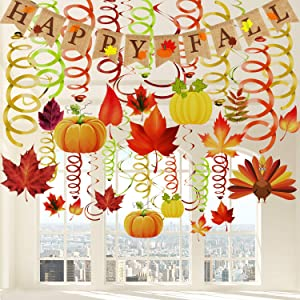 41 Pieces Thanksgiving Hanging Swirl Decorations Happy Fall Burlap Banner Fall Party Swirls Maple Leaves Pumpkin Turkey Swirl Streamer Autumn Hanging Ceiling Decoration