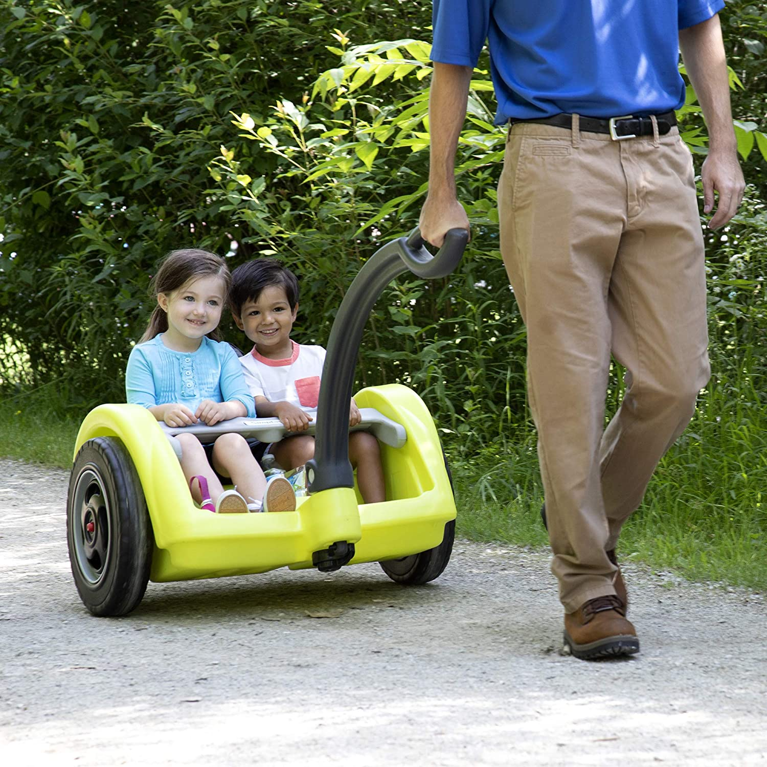 Simplay3 Deluxe 2 Wheel Chariot Style Toddler Child Wagon Hiking Carrier with Long Handle for 2 Children