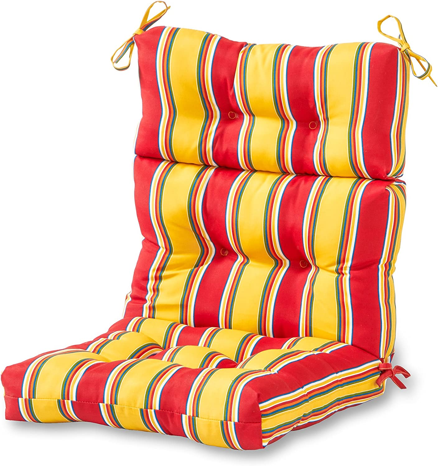 Greendale Home Fashions Outdoor High Back Chair Cushion, Carnival Stripe