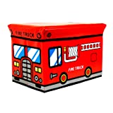 Kids Childrens Large Storage Seat Stool Toy Books Clothes Box Chest Train Fire Engine Pink Bus or Safari Animals (Fire Truck)