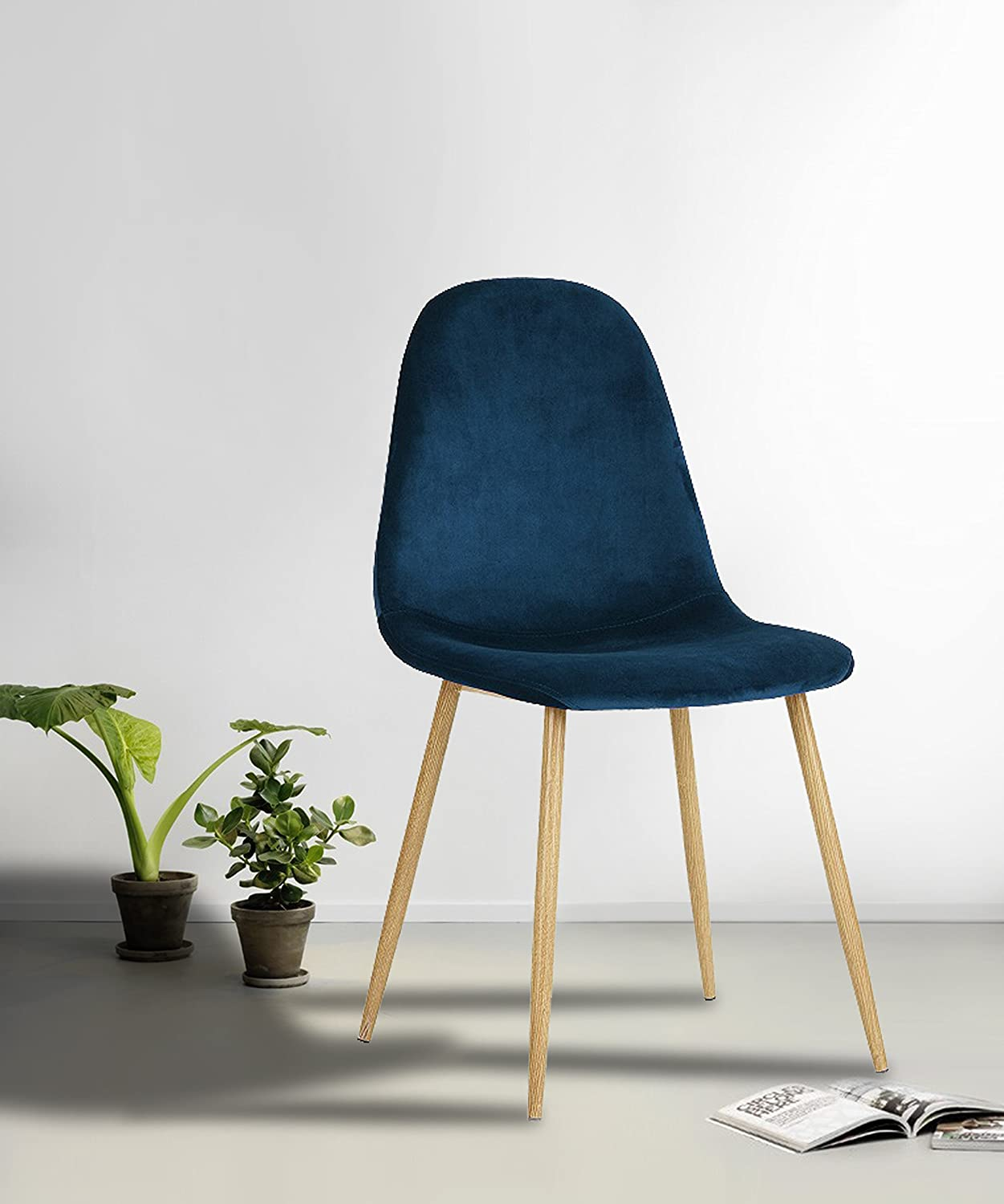 Set of 4 Mid-Century Style Side Chair Metal Legs Velvet Fabric Cushion Seat and Back for Dining Room Chairs in Navy