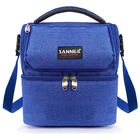 56b5bb2e705 Amazon.com: Kinnet Insulated Double Decker Cooler Lunch Box Lunch Bag with  Removable Shoulder Strap for Men, Women(Blue): Kitchen & Dining