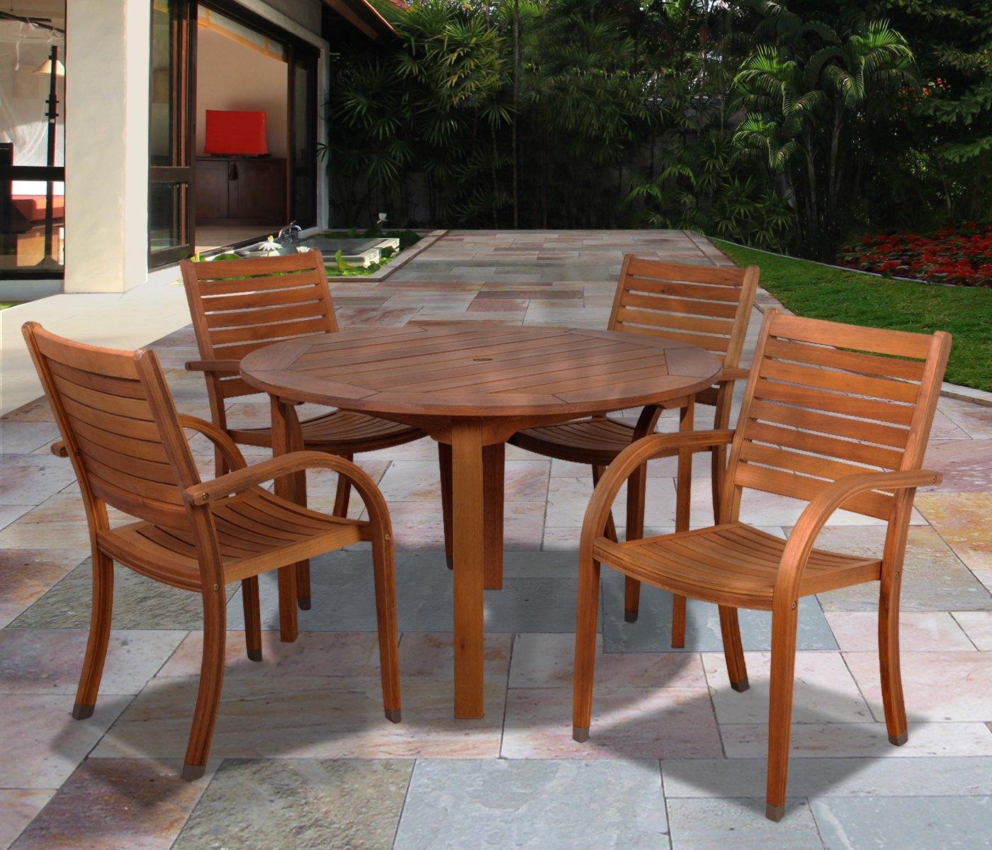 Amazon.com : Amazonia Arizona 5 Piece Eucalyptus Round Dining Set : Outdoor  And Patio Furniture Sets : Garden U0026 Outdoor