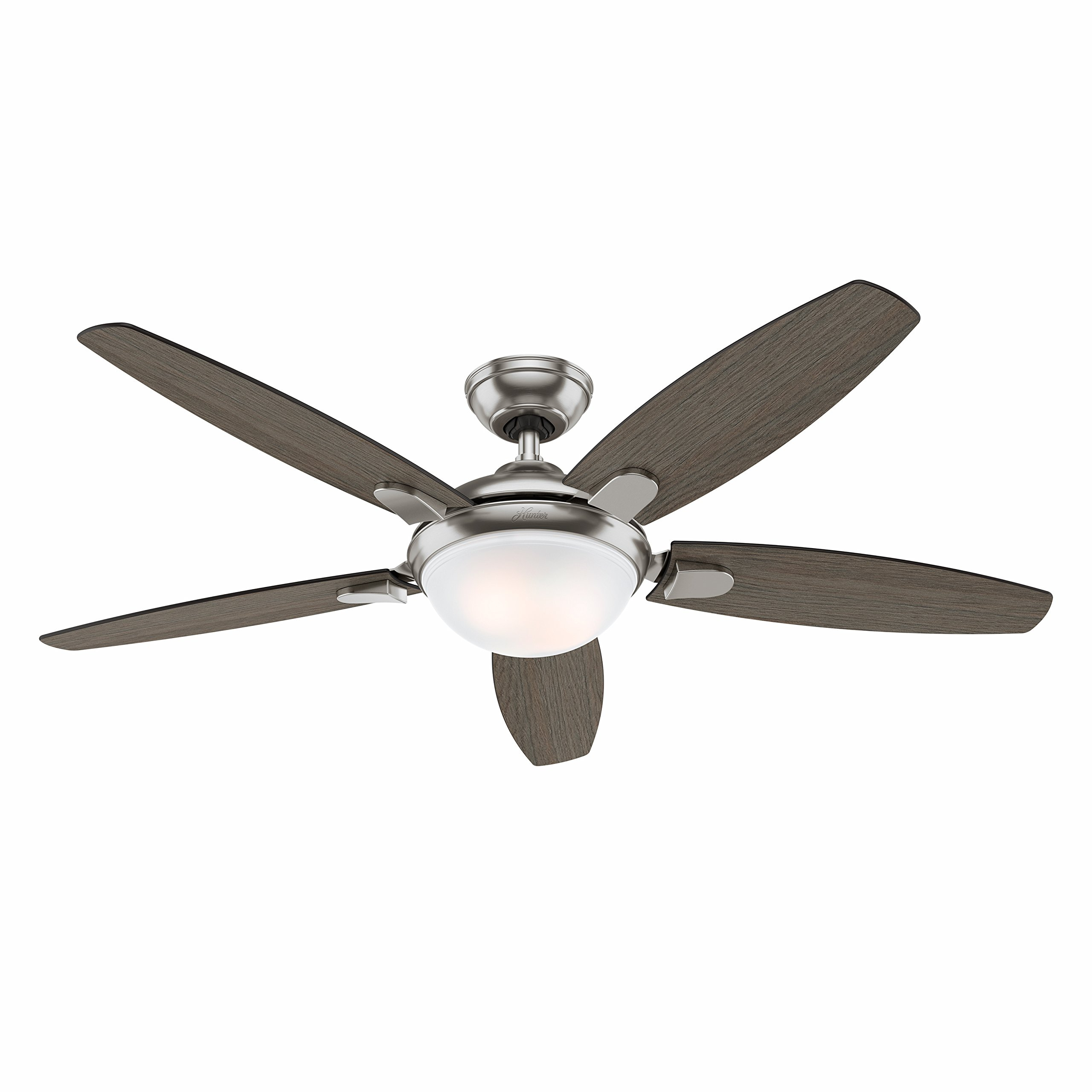 Hunter fan 54 contemporary ceiling fan in brushed nickel with led hunter fan 54 contemporary ceiling fan in brushed nickel with led light and remote certified refurbished ceiling fans appliances tibs mozeypictures Image collections