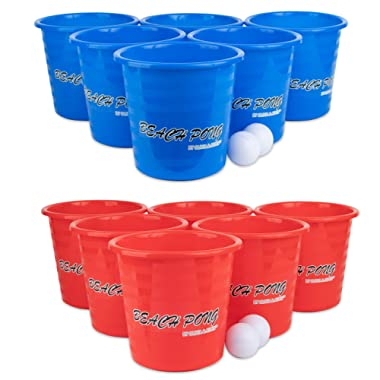 OLIVIA & AIDEN Beach Pong Outdoor Game (Party Edition) Fun Lawn, Backyard, Tailgate, and Camping Play | Portable Ball and Bucket Toss Game | Kids, Teens, Adults | Includes 4 Game Balls | Carry Bag