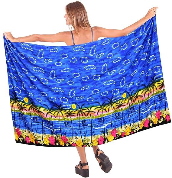 "cee88e18f2 LA LEELA Soft Light Hawaiian Beach Bikini Sarong Printed 78""X39""  Royal Blue_2849"