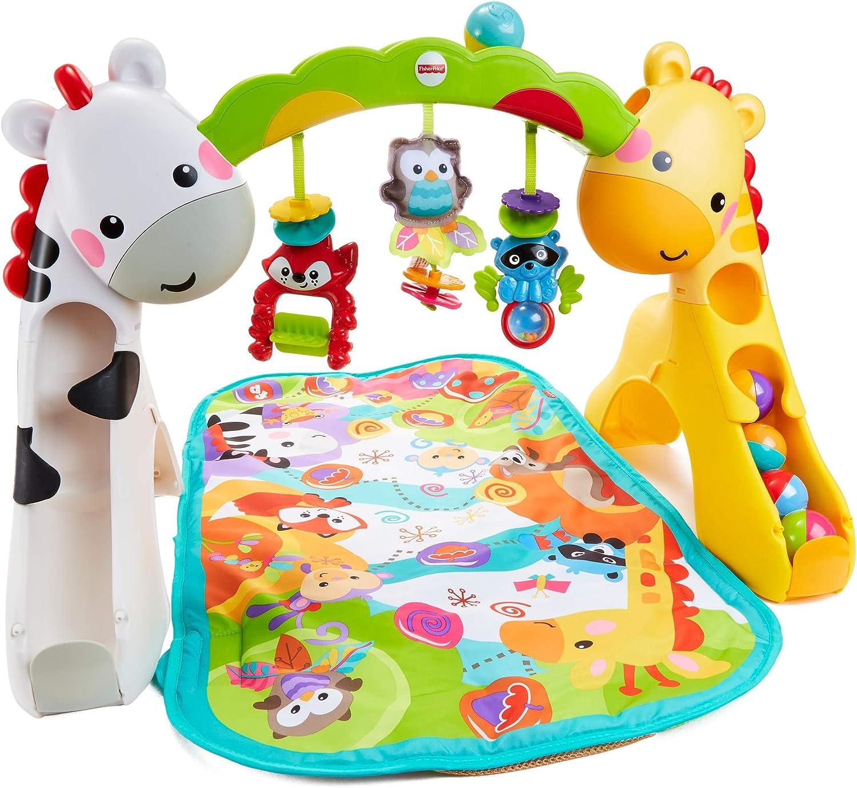 Fisher-Price Gimnasio Animales, manta de juego y alfombra para bebé recien nacido (Mattel GLK31)