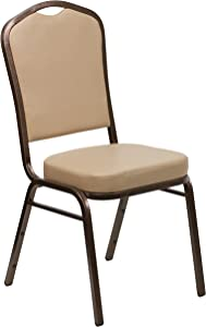 Flash Furniture HERCULES Series Crown Back Stacking Banquet Chair in Tan Vinyl - Copper Vein Frame