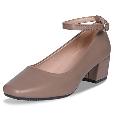 CINAK Low Heel Chunky Heels Dress Shoes for Women- Comfortable Ankle Strap Pumps Square Toe Ladies Mary Jane   Pumps