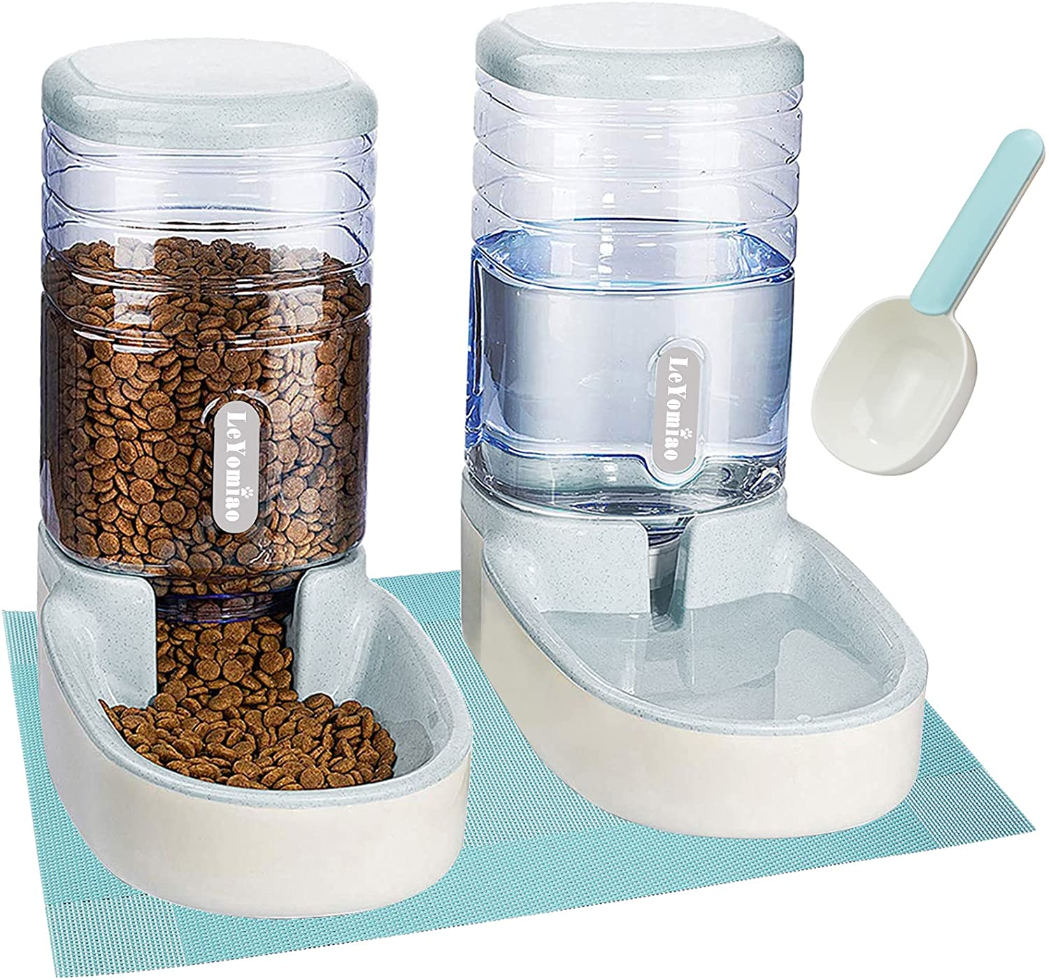 LeYoMiao Pets Feeder Cats Dogs Automatic Feeder Set 3.8 L with 1 Water Dispenser and 1 Food Feeder for Small, Medium & Big Pets