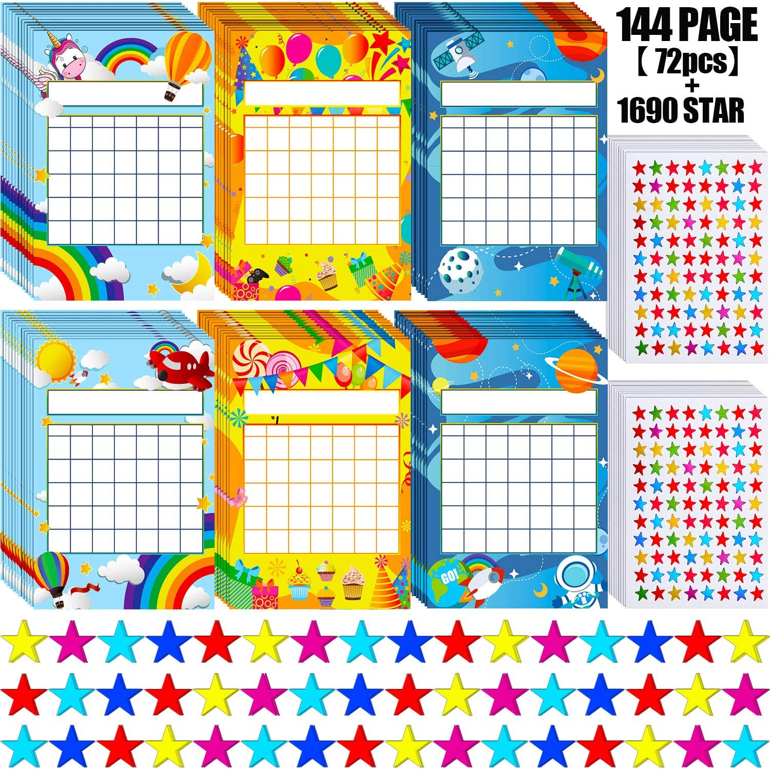 72 Pieces Incentive Chart Colorful Rainbow Space Theme Party Incentive Pad and 1760 Colorful Star Stickers for Classroom Teaching or Family Using