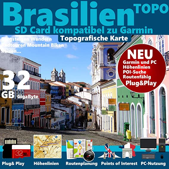 garmin brasilien karte ☆Brasilien Brazil Topo GPS Karte microSD Card für Garmin Navi, PC