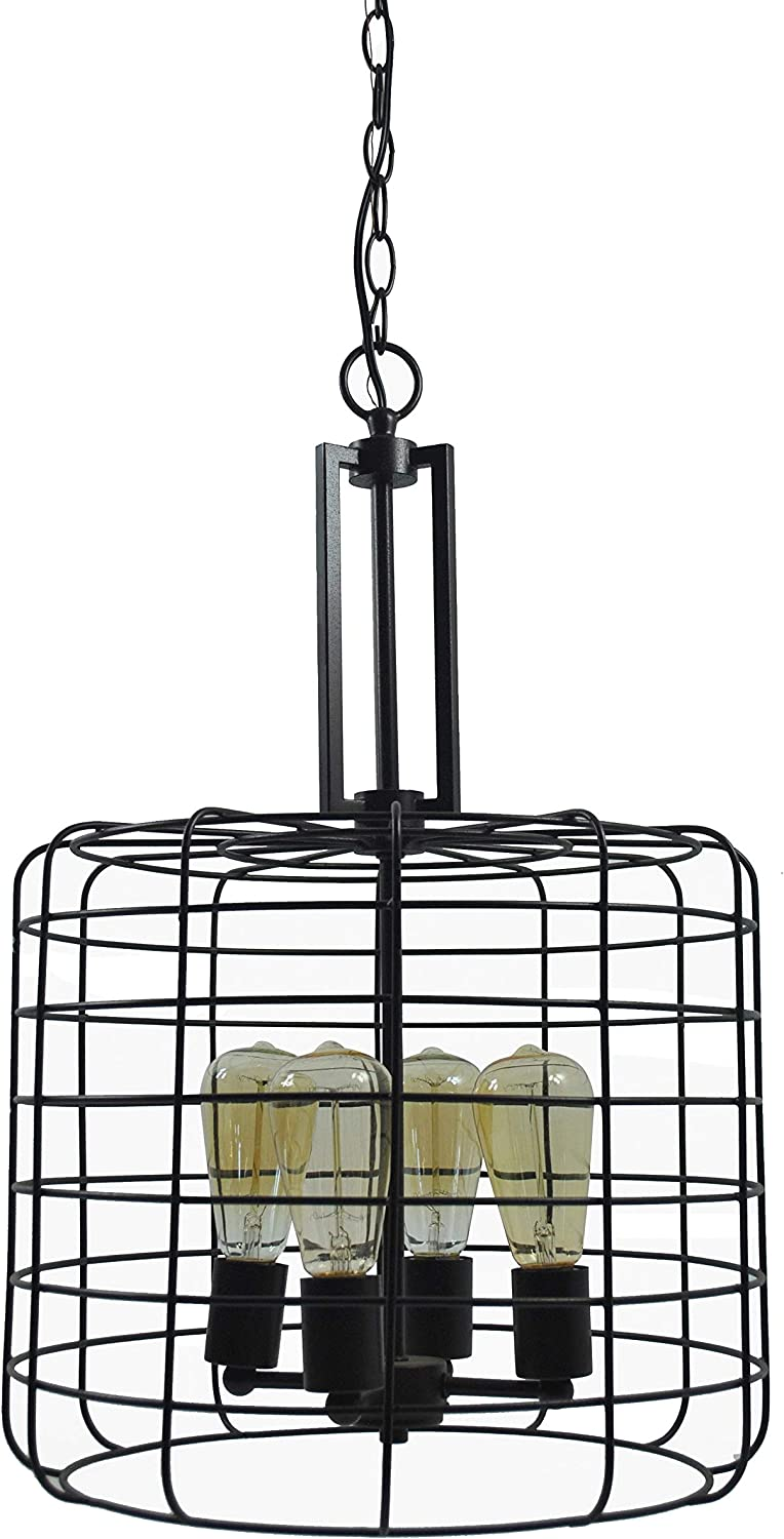 Design House 587337 Ajax Industrial Modern 4-Light Indoor Chandelier Edison Bulbs Included Metal Wire Cage for Entryway Dining Room Foyer, Coffee Bronze
