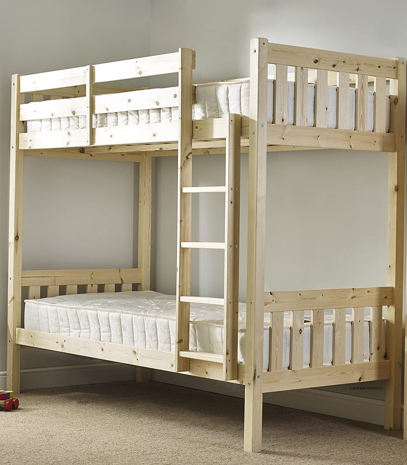 Small Beds For Adults Part - 50: Adult Bunkbed 2ft 6 Small Single Shaker Solid Pine Bunk Bed - Can Be Used By