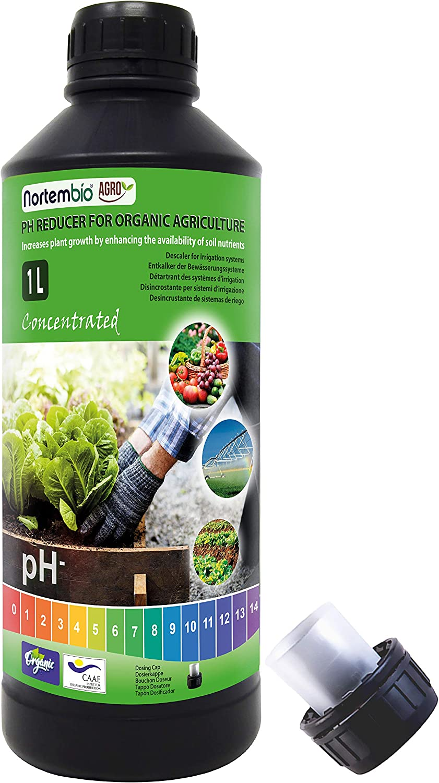 Nortembio Agro Reductor de pH Ecológico 1 L. Uso Universal. Desincrustante de Sistemas de Riego. Cultivos con Mejor Sabor y Aroma.