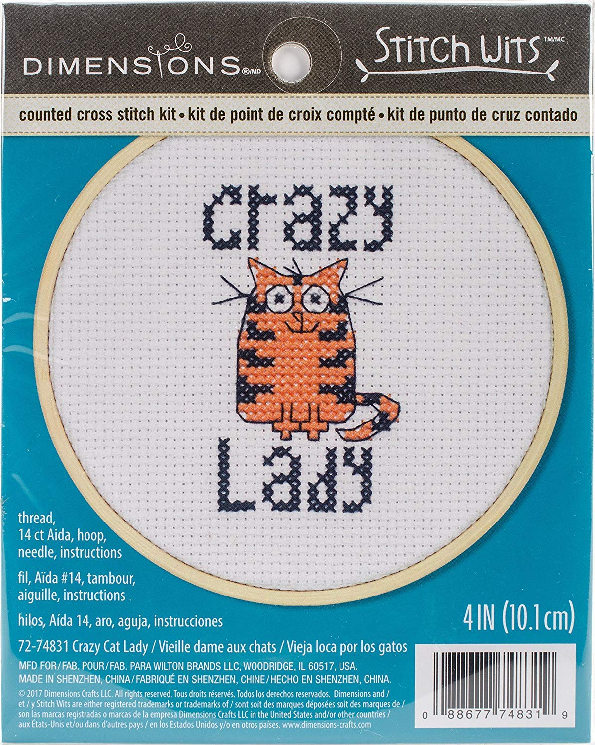 Amazon.com: Dimensions Mini Counted Cross Stitch Kit for Beginners, Crazy Cat Lady, 14 Count White Aida Cloth, 4