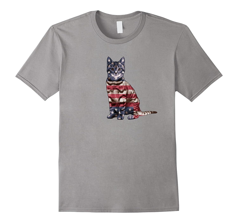 American Flag Cat T-shirt Cute Patriotic Unisex Top Tee-PL