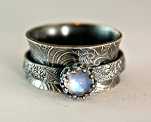 Faceted Rainbow Moonstone Oxidized Sterling Silver Spinner Ring Vintage Style Jewelry