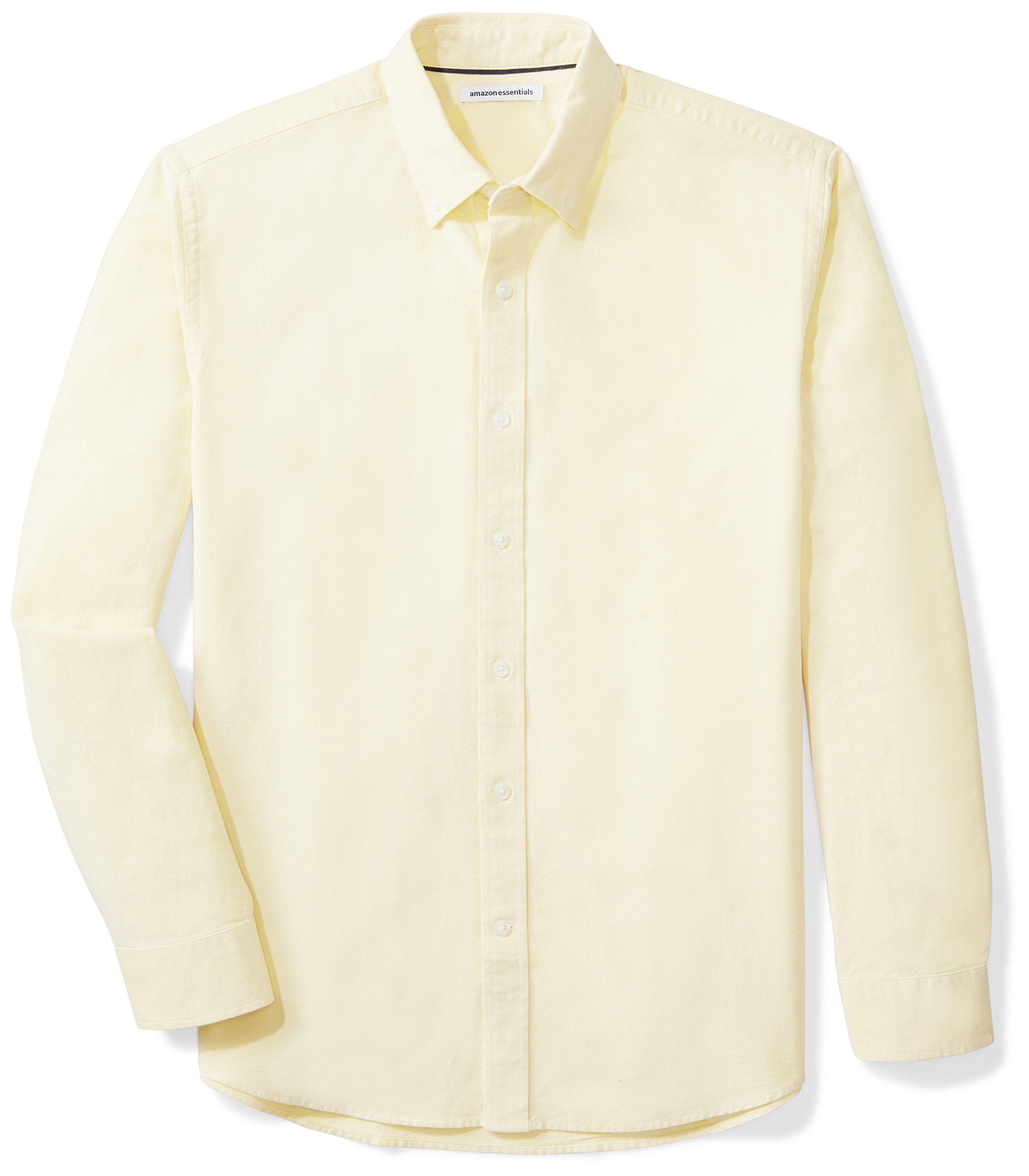 Amazon Essentials Men's Regular-Fit Long-Sleeve Solid Oxford Shirt, Yellow, Large by Amazon Essentials