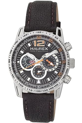 8f85ef449158 Haurex Italy Talento - Reloj analógico de caballero de cuarzo con correa de  piel marrón  Amazon.es  Relojes