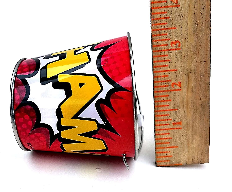 Super Hero Comic Book Themed Assorted Mini Metal Buckets 12 Pack