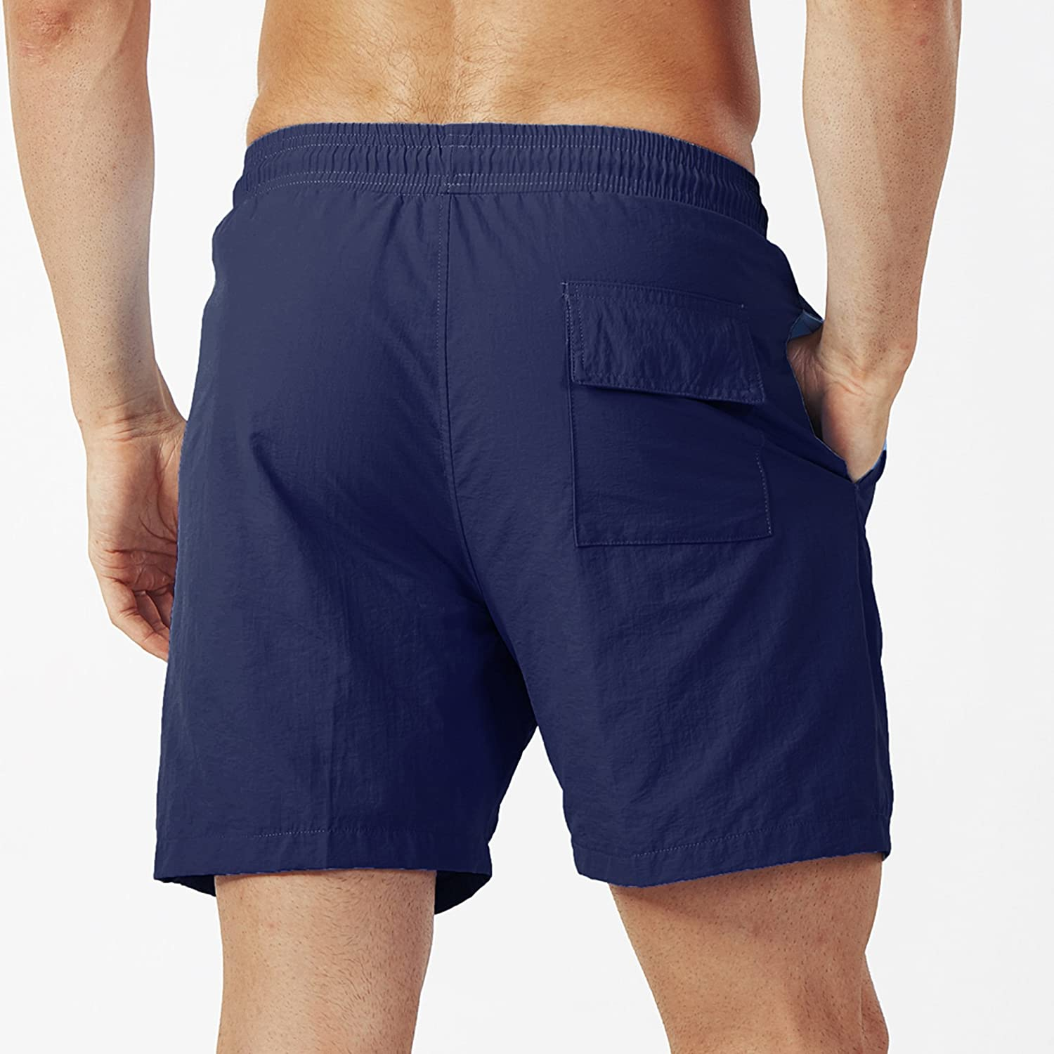 Lachi Mens Beach Shorts Quick Dry Swim Trunks with Mesh Lining Surfing Swimming Watershort Boardshorts
