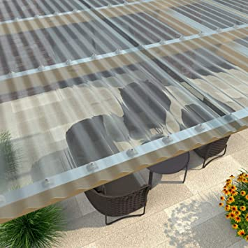 Placa de luz ondulada (perfil 76/18), material PVC, anchura 900 mm, grosor 1,0 mm, color azul claro: Amazon.es: Bricolaje y herramientas