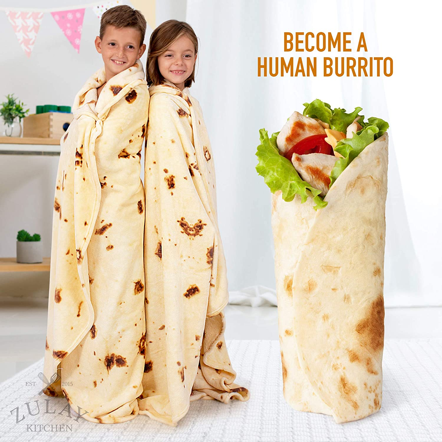 - Novelty Big Burrito Blanket for Adult and Kids Premium Soft Flannel Round Burrito Blanket for Indoors Outdoors Zulay Burrito Throw Blanket Flour Tortilla Design/  60inches Travel Home and More
