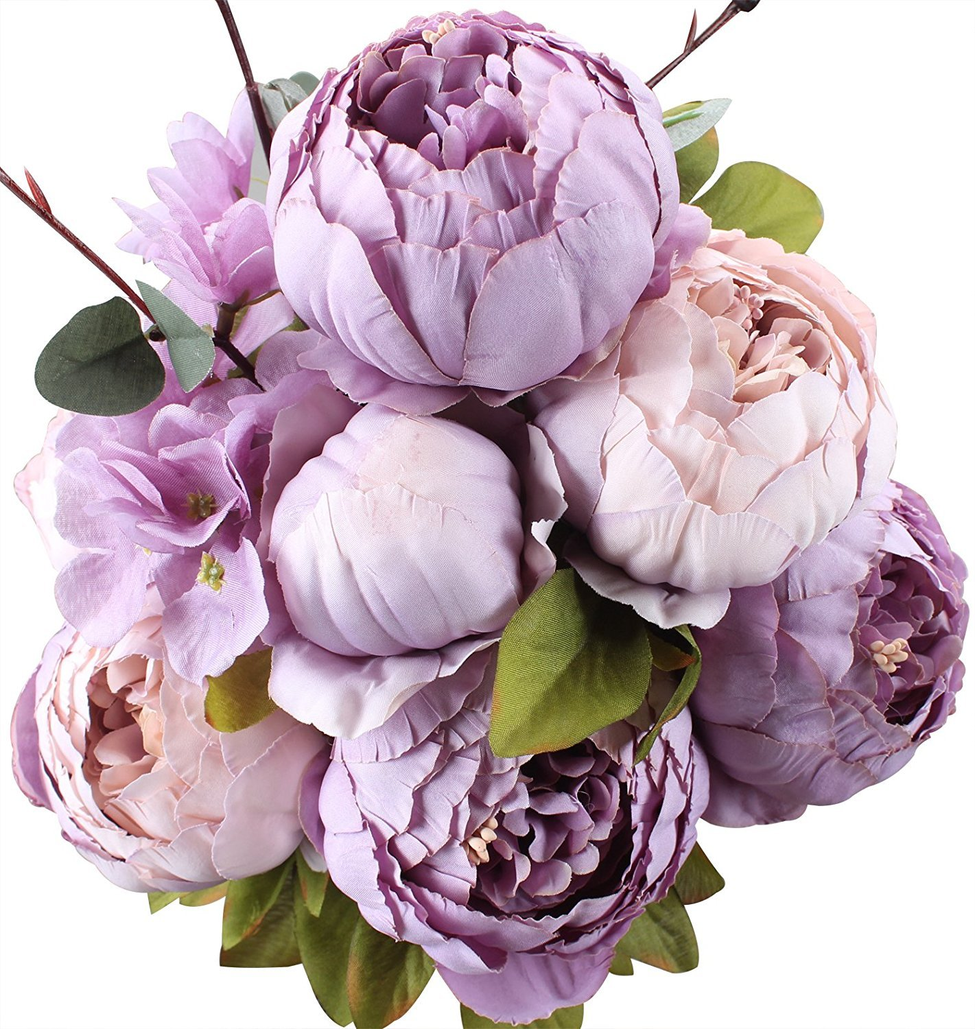 Amkun Fake Flowers Vintage Artificial Peony Silk Flowers Bouquet Wedding Home Decoration, Pack of 1 (Champagne)