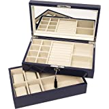 "Brouk & Co Women's Stackable Lacquer Jewelry Box and Tray 12""X7 1/8""X 5 1/8"" Navy"