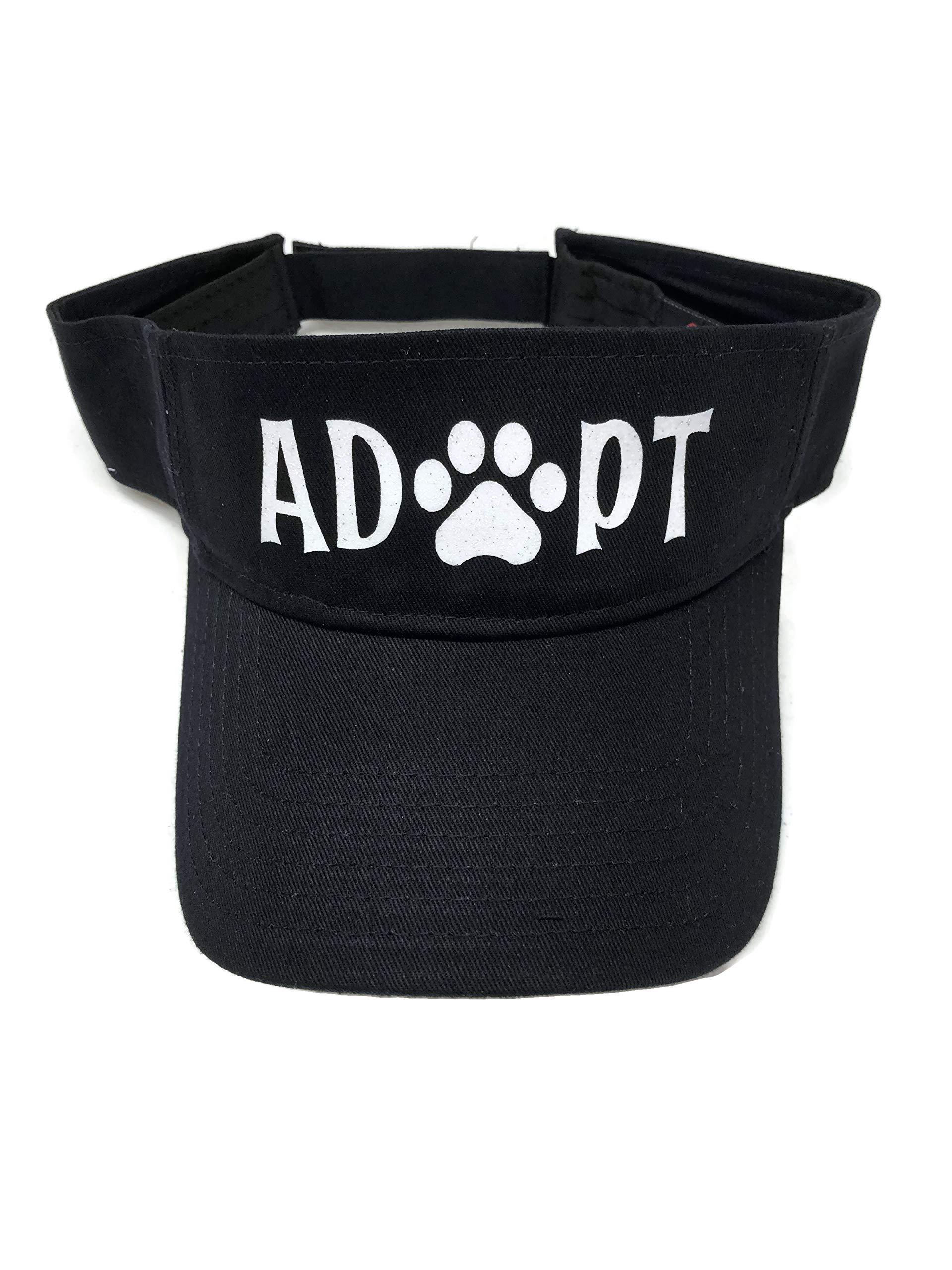 White Glitter Adopt/Paw Print Black Sun Visor Animal Dog Cat by Spirit Caps