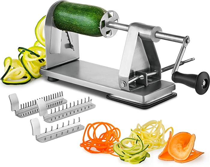 Mitbak Stainless Steel Vegetable Spiralizer Slicer | Industrial-Grade 3-Blade Zoodle Maker | Restaurant-Quality Spiral Slicer Great For Low Carb, Paleo, Vegan, Keto, Spaghetti | Premium Kitchen Tools
