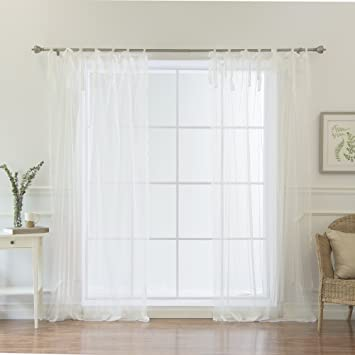 best home fashion swiss dot lace curtains tie top white