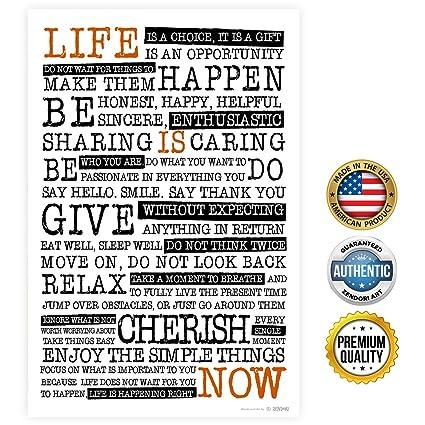 amazon com zendori poster life is now manifesto poster print on