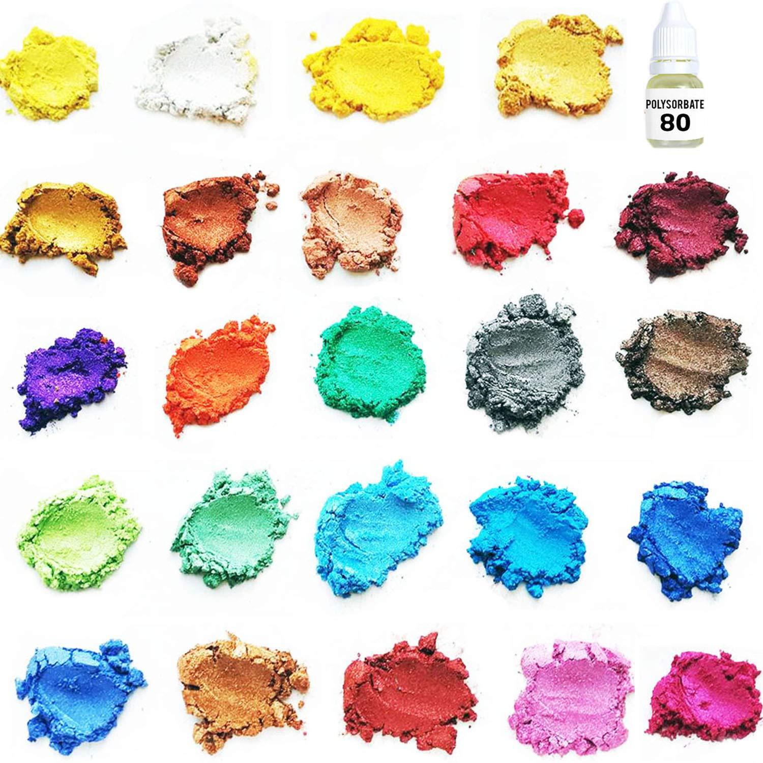 ORAK Premium [24 Assorted Colors] Cosmetic Grade Natural Mica Powder Pigment Set for Bath Bomb, Soap, Epoxy, Resin, and Slime Making - Non Toxic Pearl Color Dyes for Makeup and Nail Art