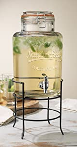 Homphile Beverage Drink Dispenser Nantucket Durable Glass on Stand 1.5 Gallon with Spigot Includes Flavored Capsule