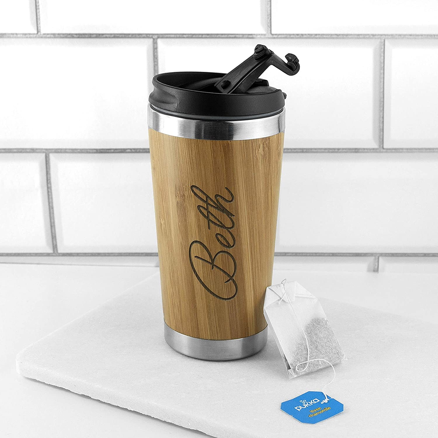 Personalised Engraved Real Bamboo Travel Eco Cup With Lid