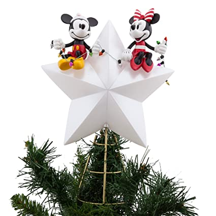 disney mickey and minnie mouse light up holiday tree topper