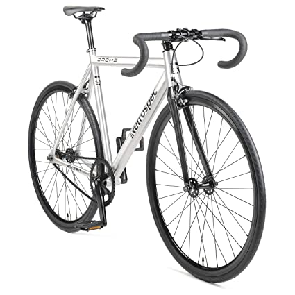 b864d880805 Retrospec by Westridge Bicycles Drome Fixed-Gear Track Bike with Carbon  Fork, Brushed Aluminum