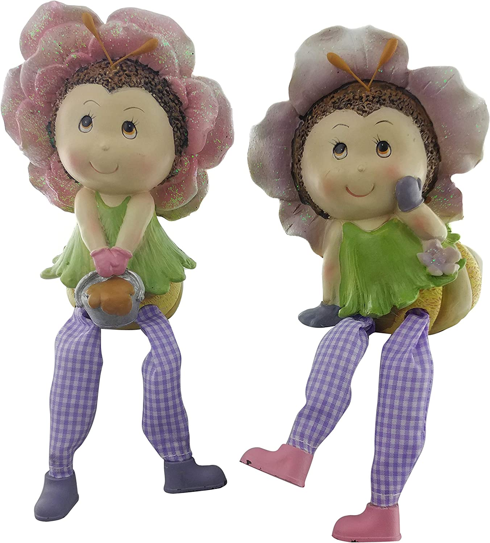 Flower Shelf Sitter Figurine | Spring Decor, Easter Decor or Kitchen Decor, Home Decor and Office Decor | Collectible Knick Knacks Flower Leg Danglers (2 Pack)