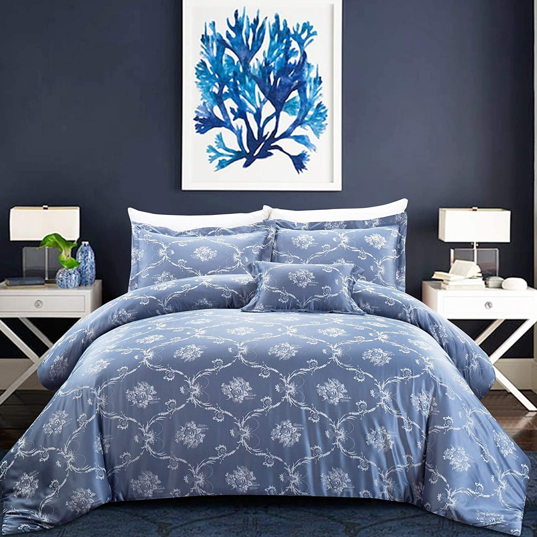 California Design Den Hotel Tuscany Duvet Cover Set 3-Piece Full//Queen Royal Blue
