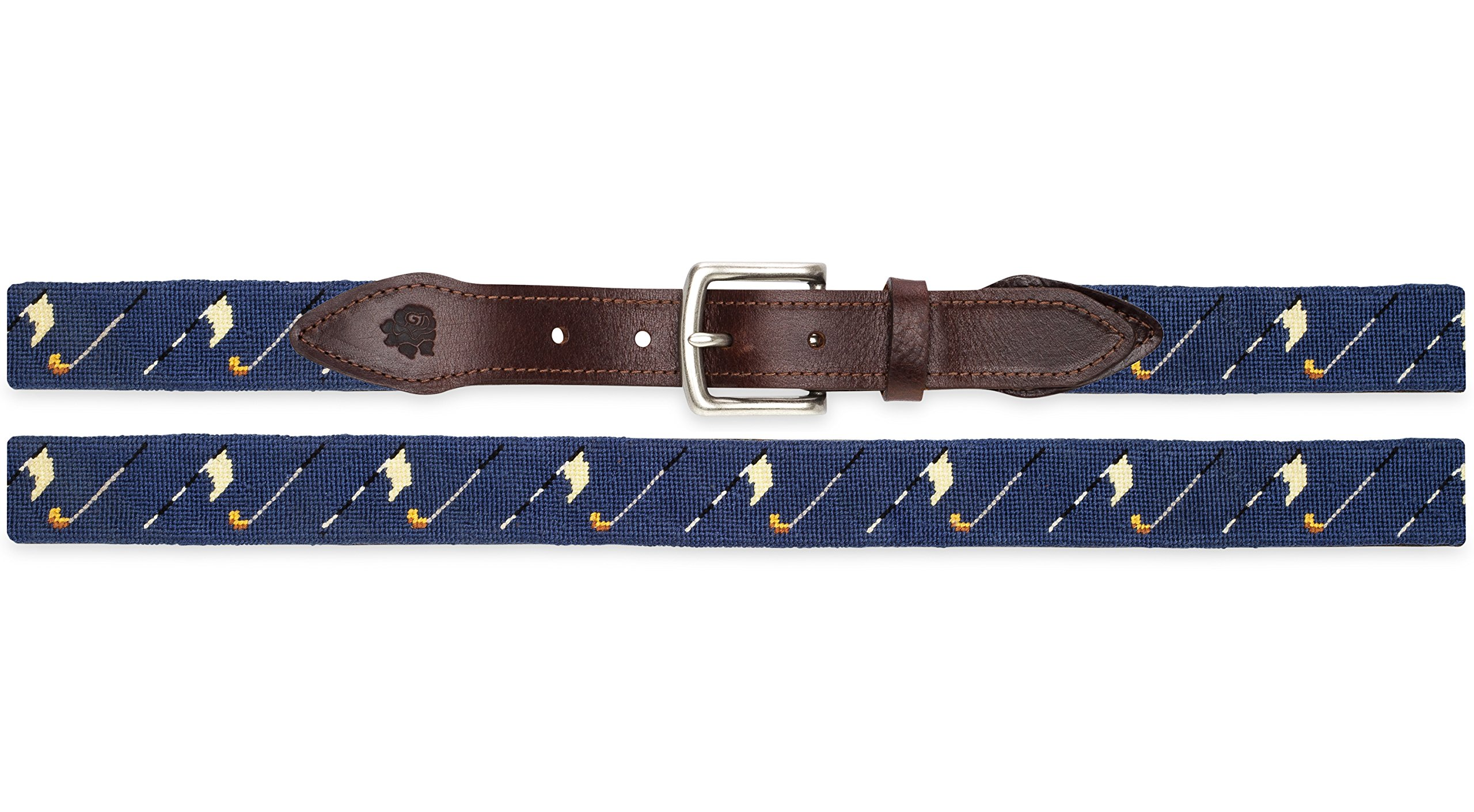Needlepoint Golf Belt on Navy