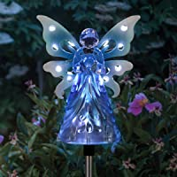 """Exhart Solar Garden Stake Lights €"""" Blue Acrylic Angel Stake Memorial Gift w/ 12 Solar LEDs in The Wings - Solar Angel Lights Perfect as Angel Remembrance Gifts & Sympathy Gifts (4″ W x 34″ H)"""
