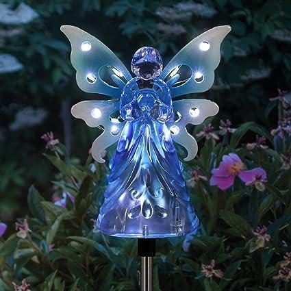 Amazon.com: Exhart - Luces solares de jardín – Ángel con 12 ...