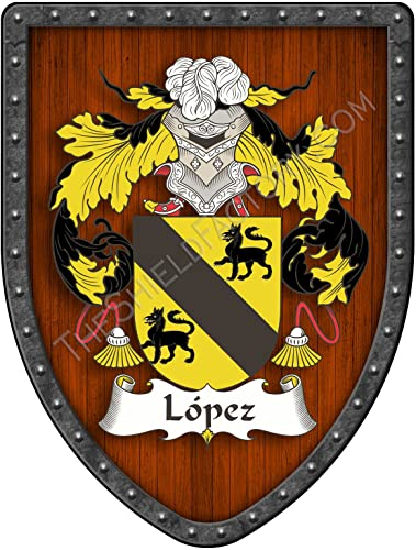 L pez III Custom Coat of Arms Spanish Hispanic Family Crest Ancestry and Heritage Hanging Metal Shield – Hand Made in the USA