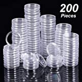 Hicarer 25 mm Coin Holder Capsules Clear Round Plastic Coin Container Case for Coin Collection Supplies (200)