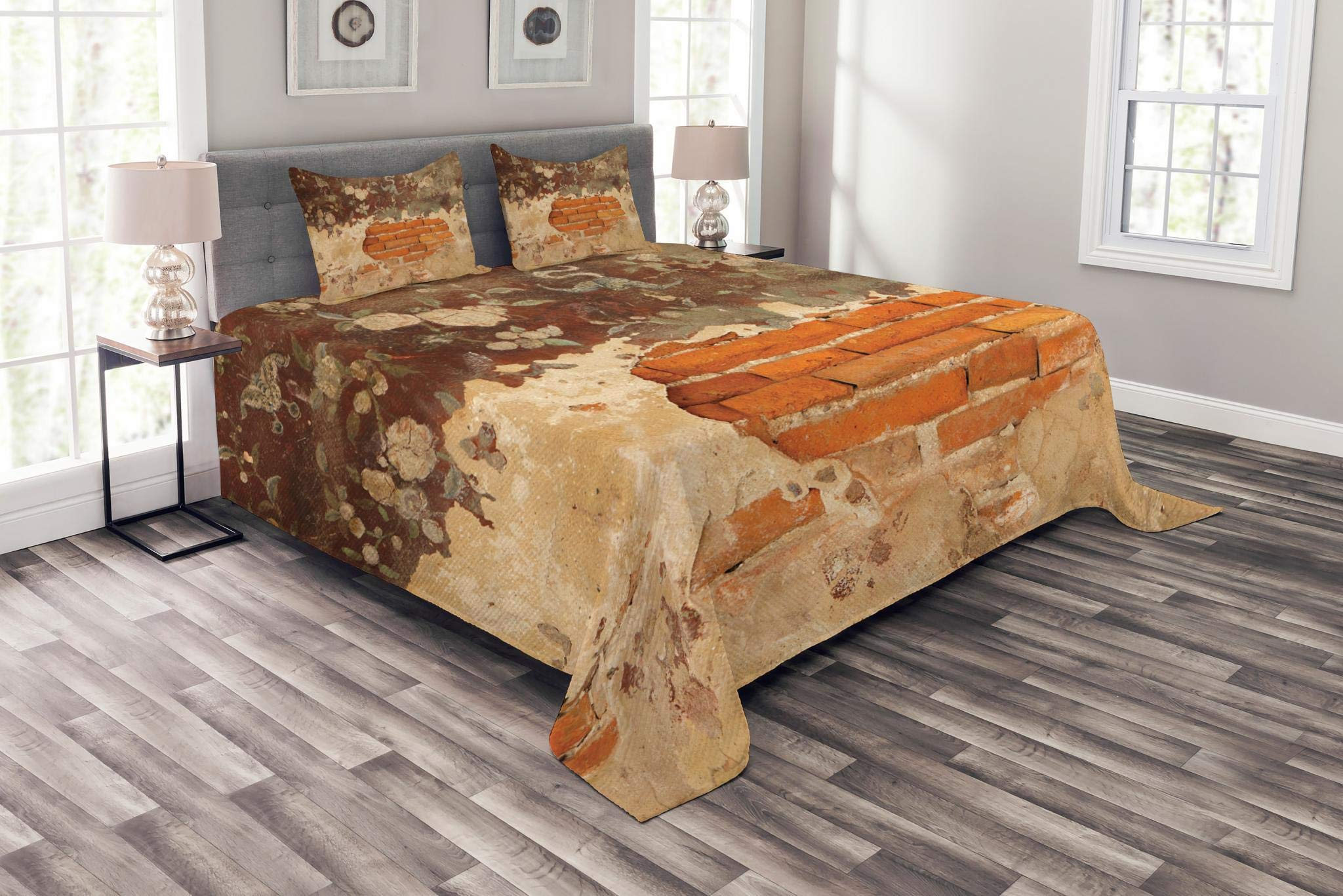 Lunarable Antique Bedspread Set King Size, Old Historical Floral Mural Painting on A Wall Concrete Bricks Rustic Design, Decorative Quilted 3 Piece Coverlet Set with 2 Pillow Shams, Orange Beige