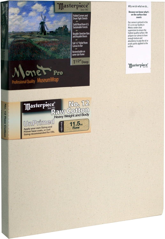 Masterpiece Artist Canvas 43767 Monet PRO 1-1//2 Deep 12 Cotton 11.5oz 36 x 36 Raw Unprimed No