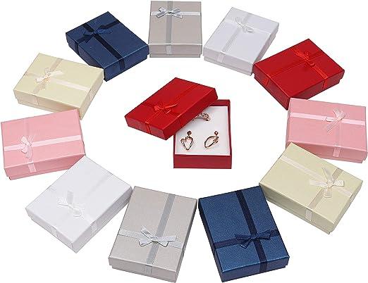 Kurtzy Cajas de Regalo(12 Piezas)- 8.5cm X 6.5cm X 2.5cm, 6 Colores- de Presentación de Joyería con Inserción de Terciopelo para Collares, Pulseras, Anillos y Pendientes: Amazon.es: Juguetes y juegos