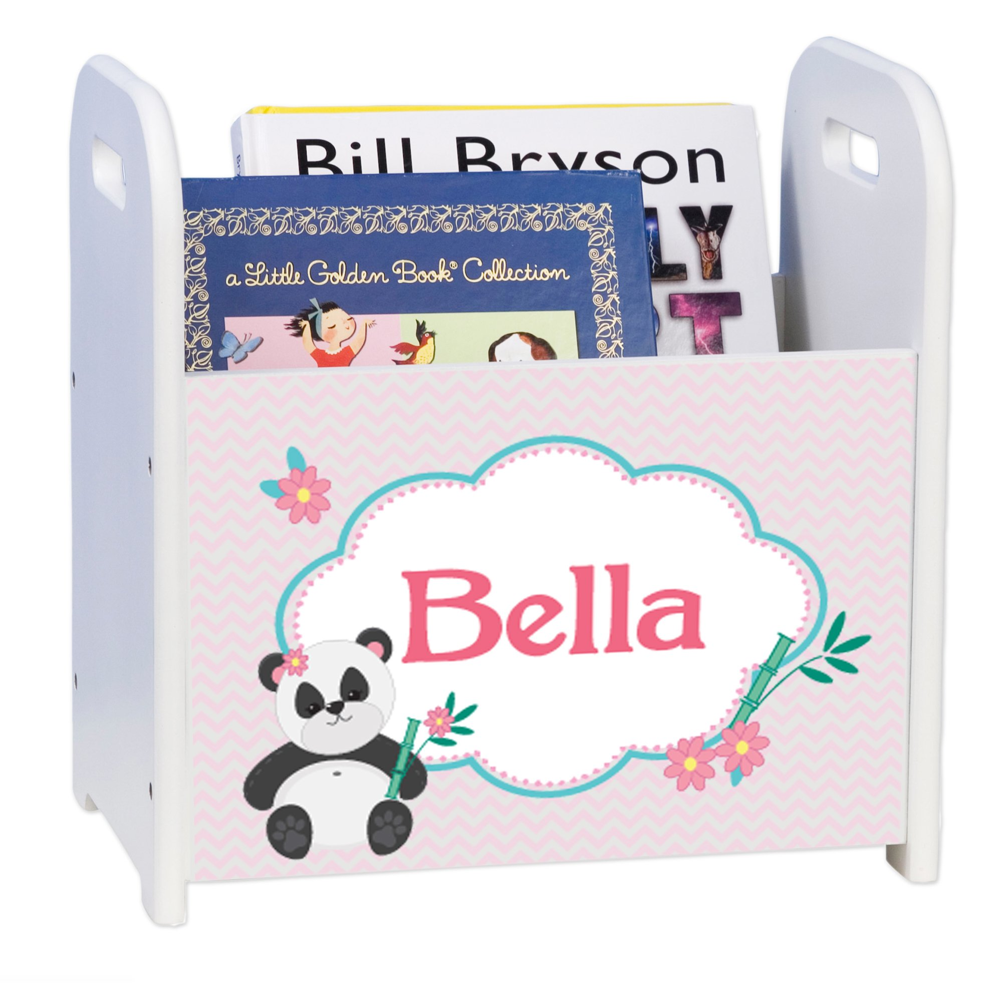 Personalized Chevron Panda White Book Caddy and Rack